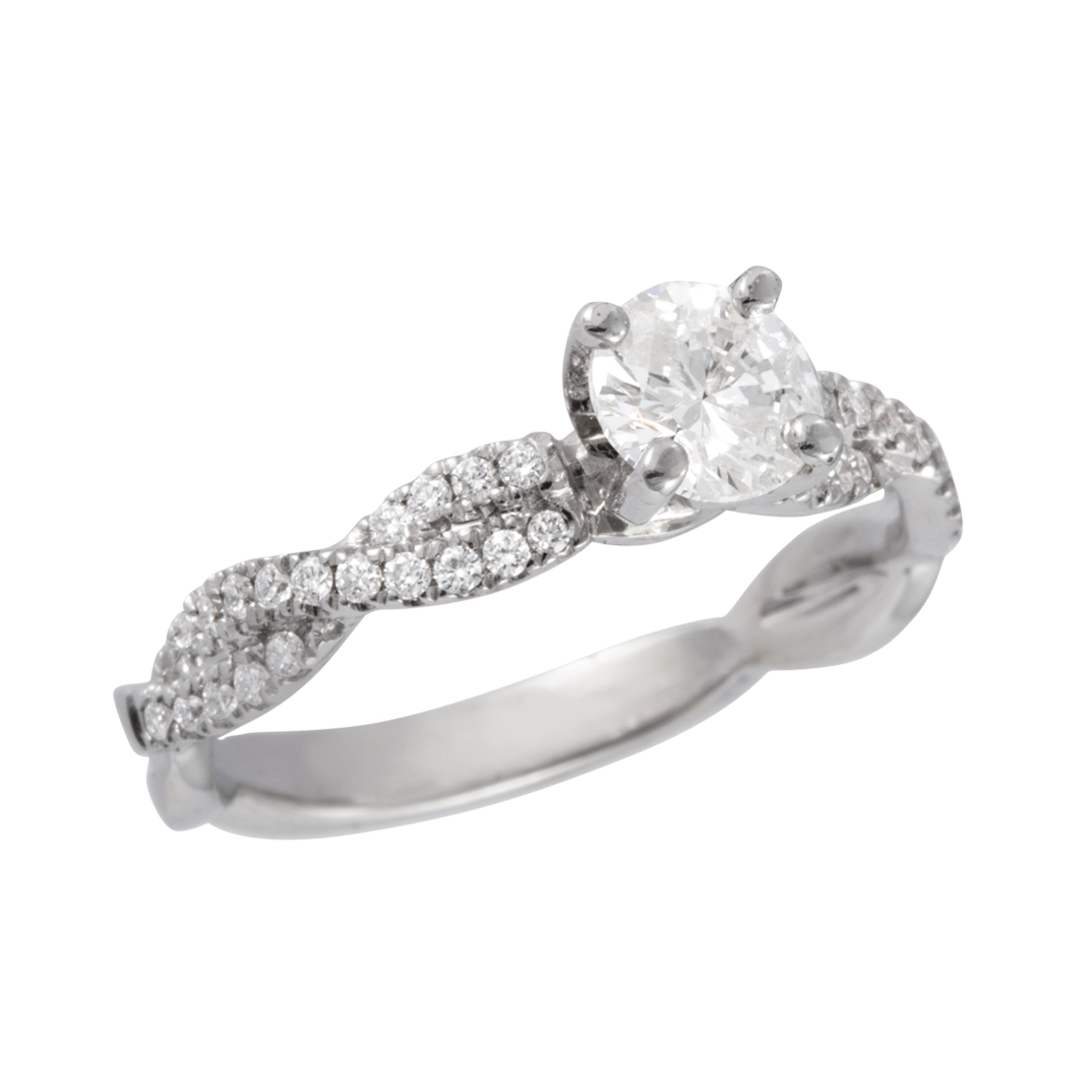 the ring under round in uneek profile quot diamond gold engagement fiorire rings and with pave white shank halo