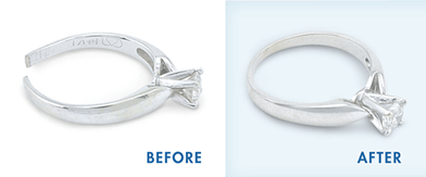 Before and after examples of Jewellery Repairs on Diamond Rings
