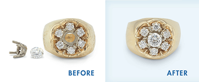 Before and after examples of Jewellery Repairs on Diamond Settings