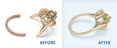 Before and after examples of Jewellery Repairs on Gold Rings
