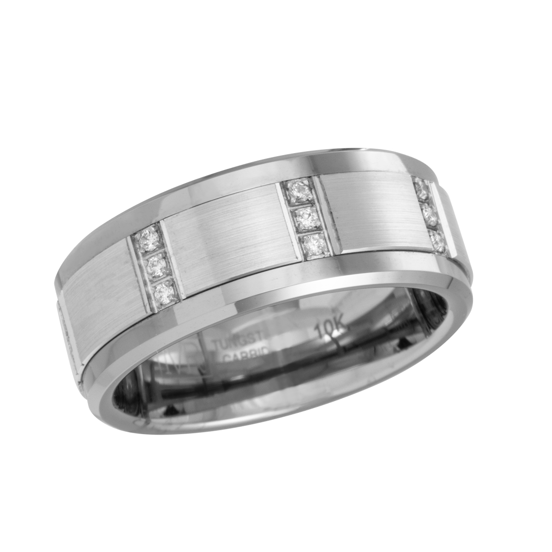 Men's Madani Tungsten and White Gold Wedding Band