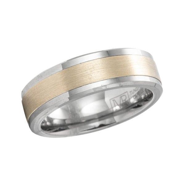 Tungsten and 10kt gold men's wedding band