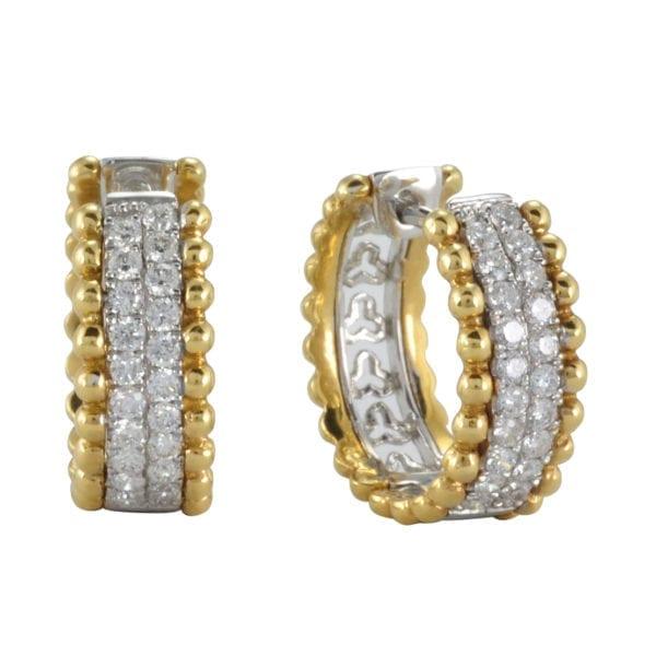 Two-Tone Diamond Huggie Earrings