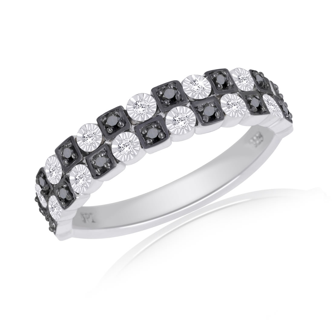 Sterling Silver Black and White Diamond Band