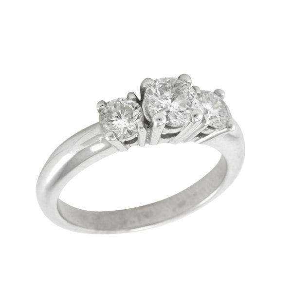 White Gold Trinity Set Engagement Ring