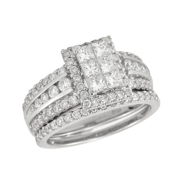 White gold engagement and wedding band set