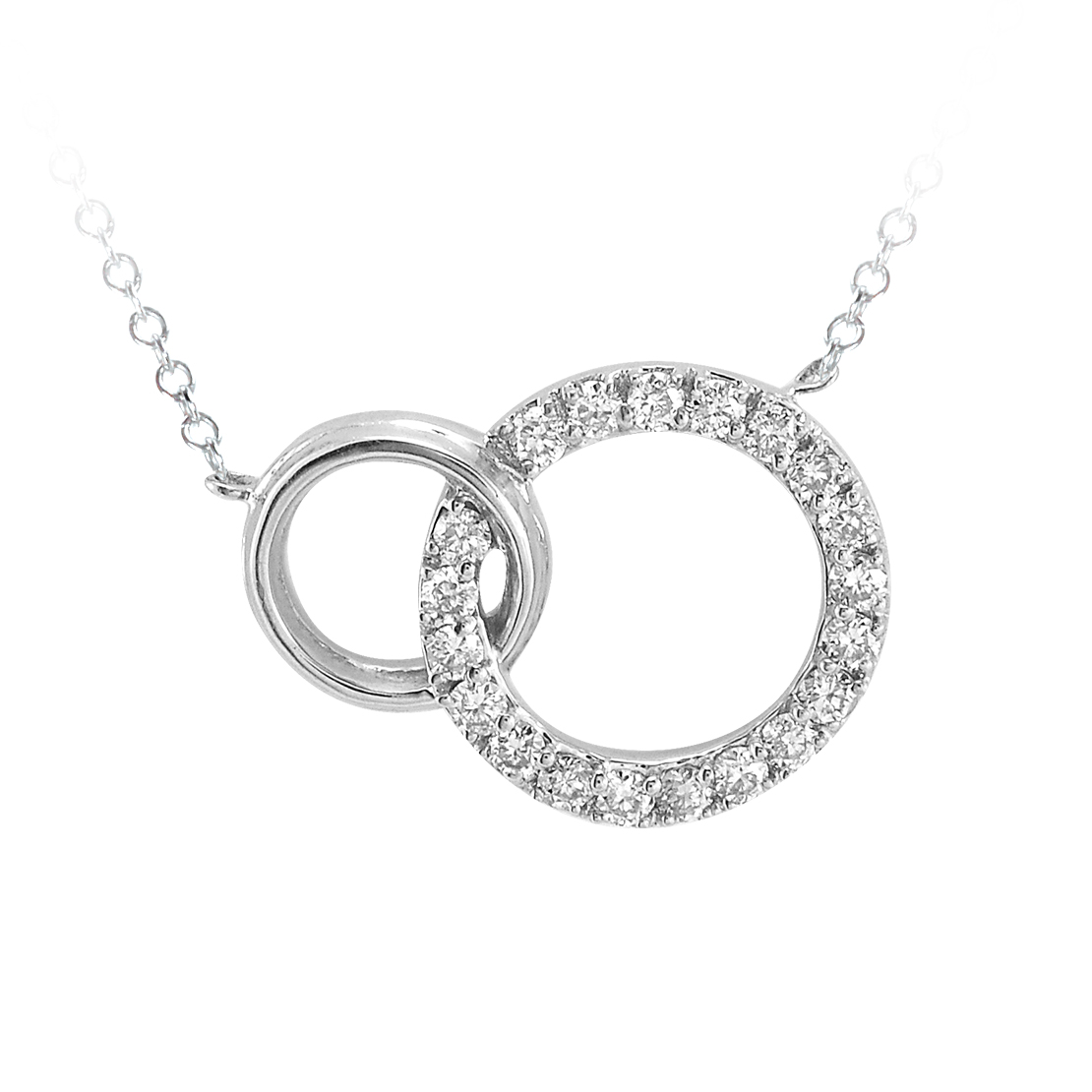 White Gold Diamond Double Circle Necklace