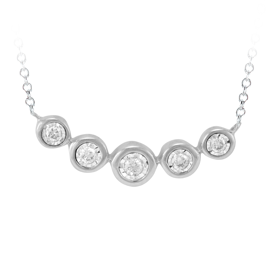 White Gold Bar Style Diamond Necklace
