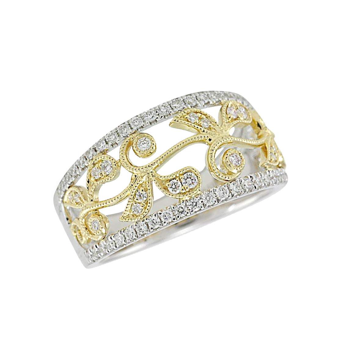 Vintage Style Gold and Diamond Ring by S. Kashi