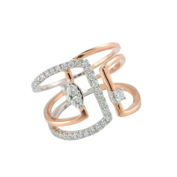 White and Rose Gold Freeform Diamond RIng