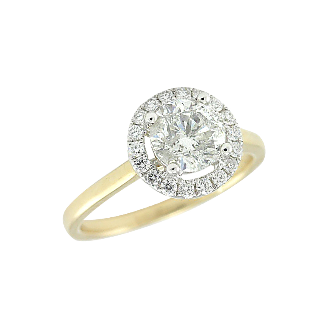 Gold Diamond Halo Engagement Ring