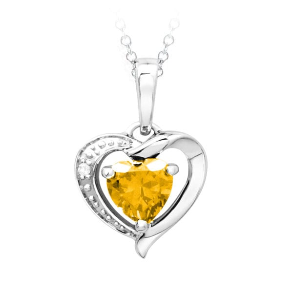 White Gold Diamond and Citrine Pendant