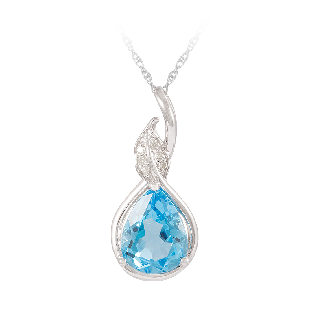 White Gold, Blue Topaz, and Diamond Pendant