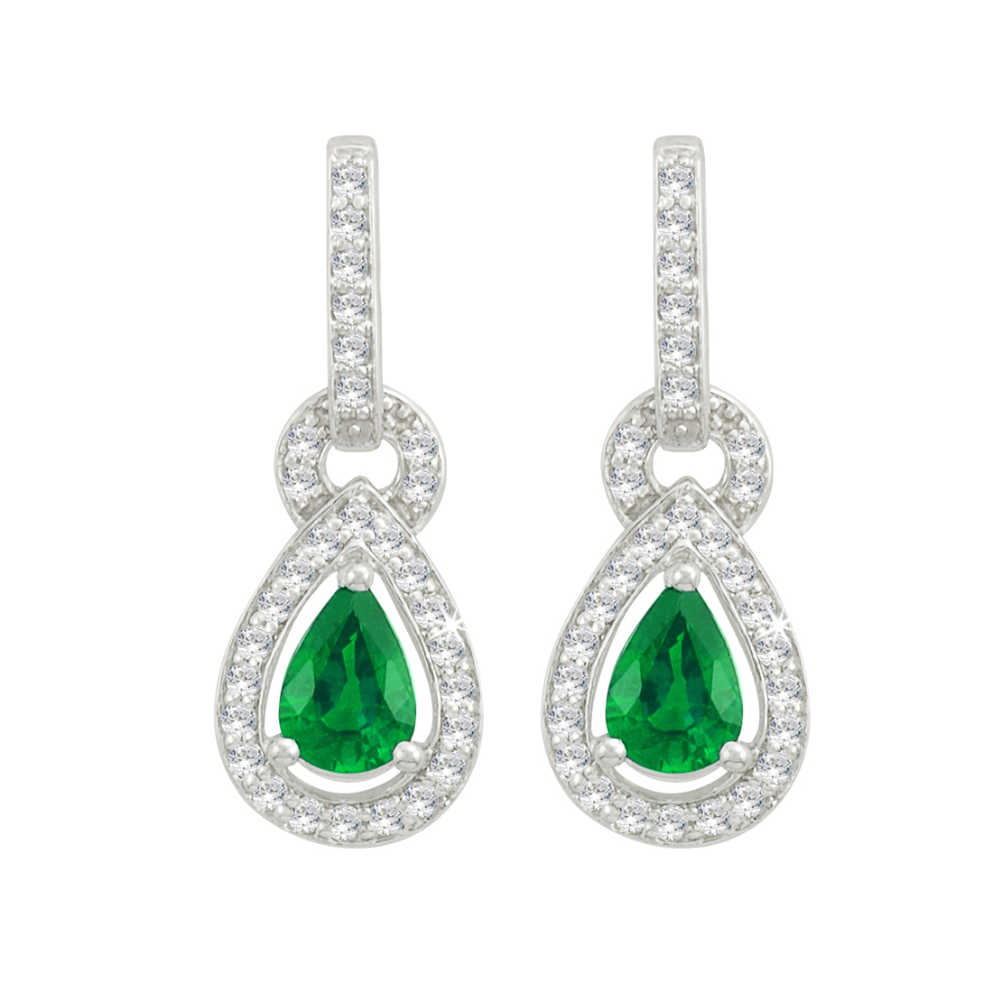 Diamond and Emerald Drop Earrings