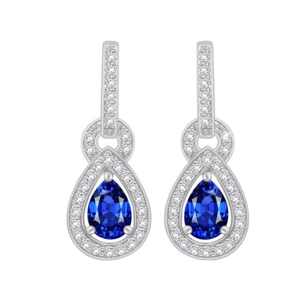 Diamond Gemstone Drop Earrings