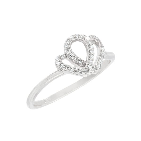Double Diamond Heart Ring