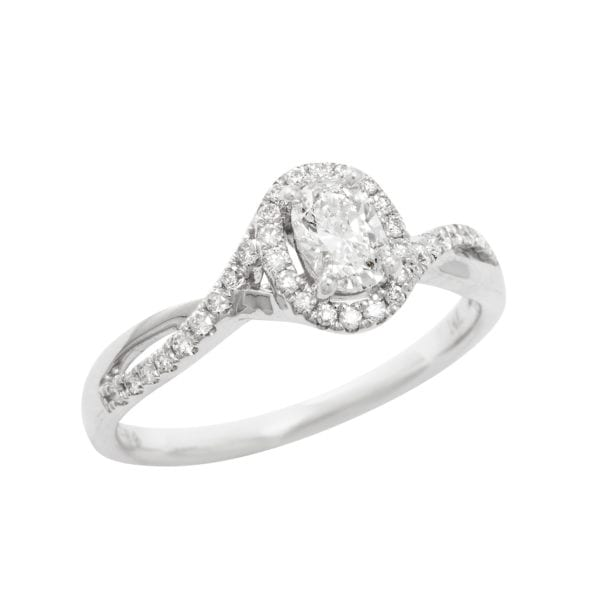Canadian Rocks Diamond Halo Engagement Ring