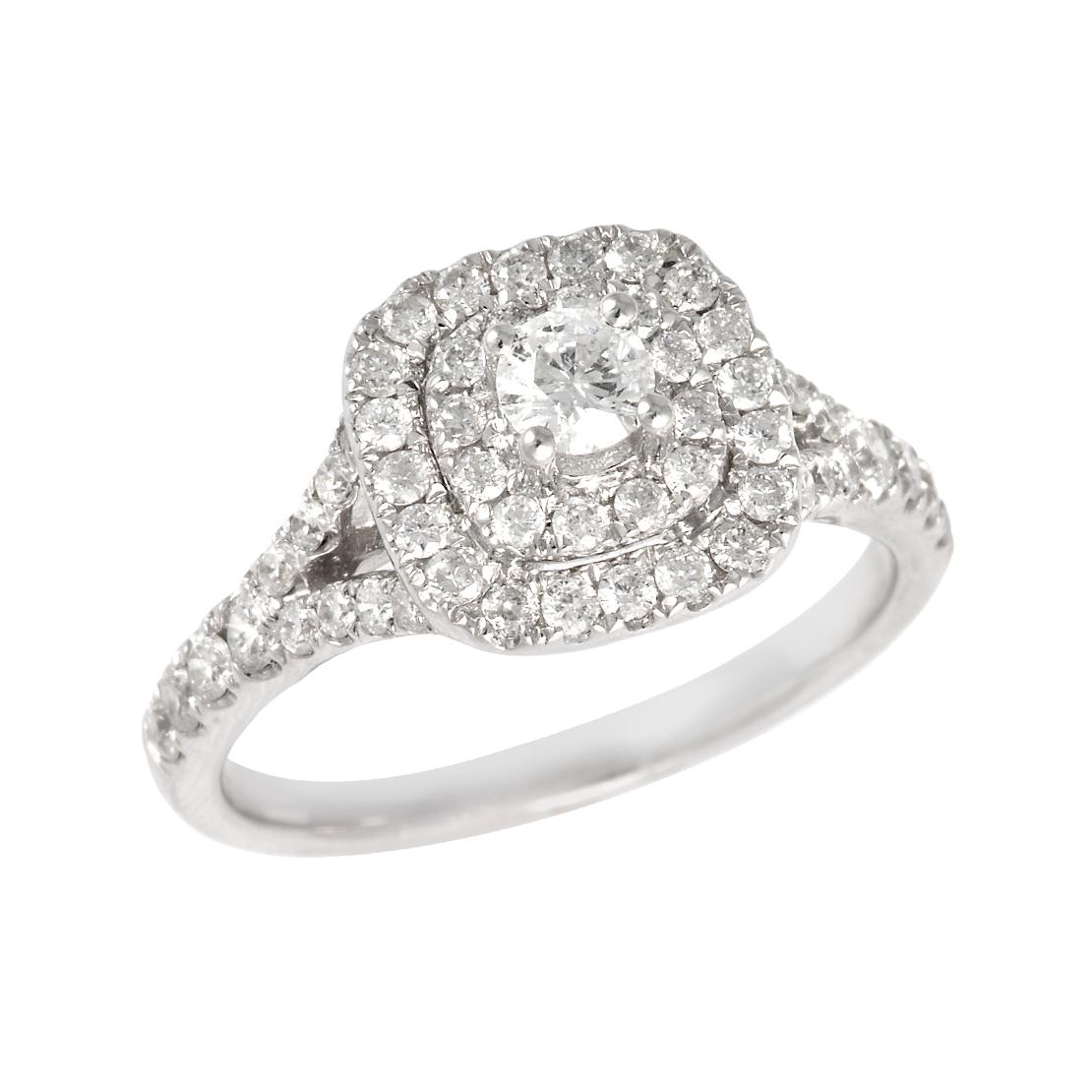 Double Diamond Halo Engagement Ring