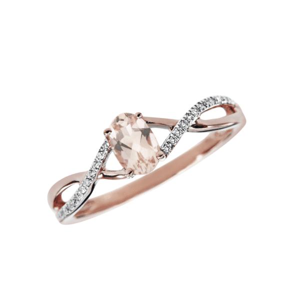 Rose Gold Morganite and Diamond Ring