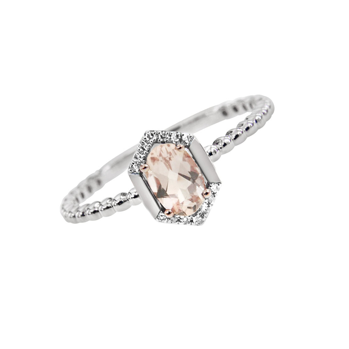 White and Rose Gold Morganite and Diamond Ring