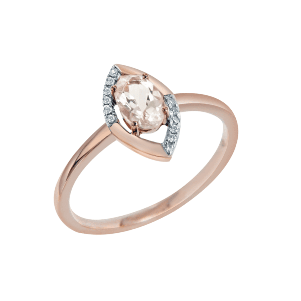 Rose Gold Marquise Shaped Diamond Ring