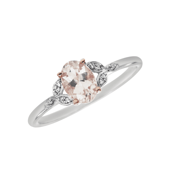 White and Rose Gold Morganite Ring