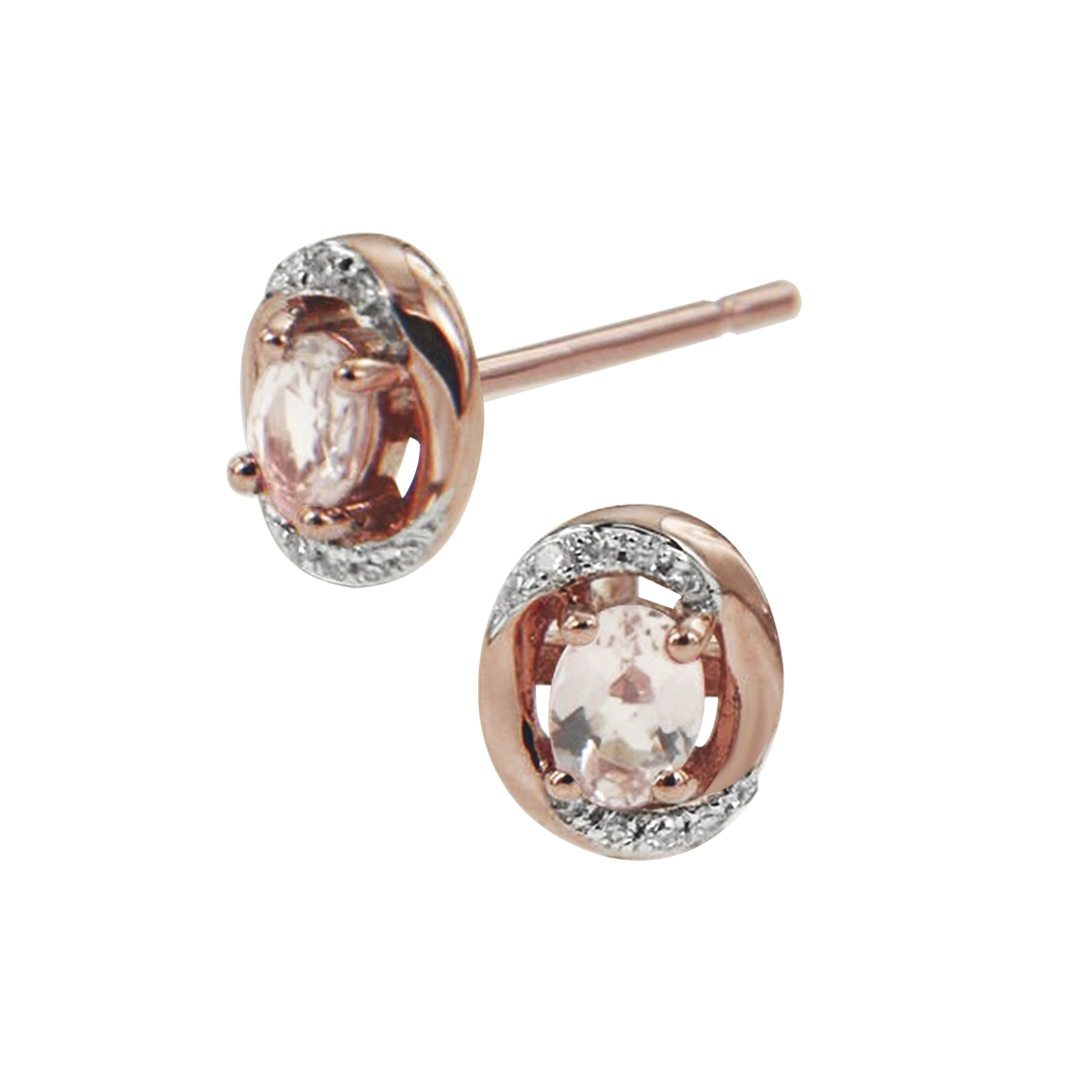 Rose Gold Morganite and Diamond Earrings