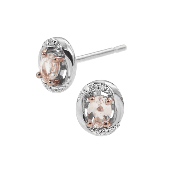 White Gold Morganite and Diamond Earrings