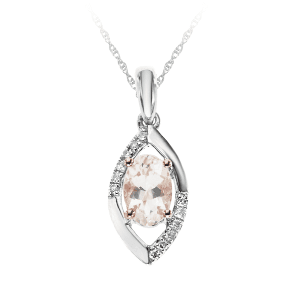 Marquise Shaped Morganite and Diamond Pendant