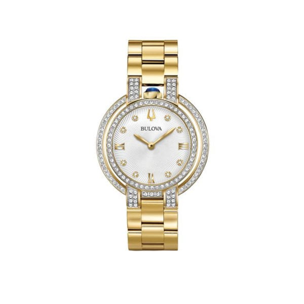 Women's Bulova gold-tone stainless steel watch with handset diamonds