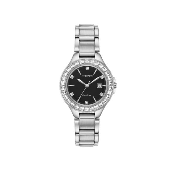 Women's stainless steel Citizen Eco-Drive Watch with Swarovski® crystals and lithium ion battery