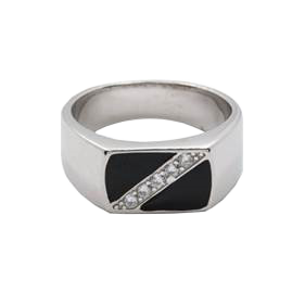 Sterling Silver and Onyx Men's Ring