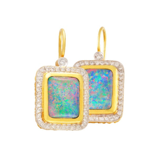 Gold Opal and Diamond Earrings