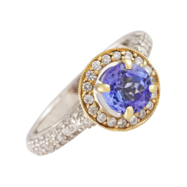 Tanzanite and Diamond Engagement Ring