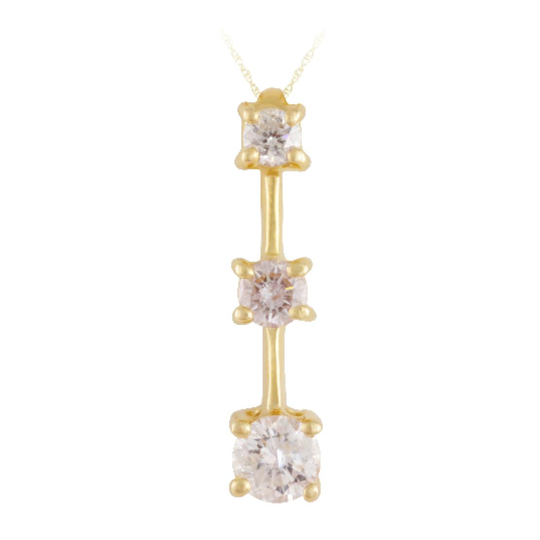 Gold Pendant with 3 Diamonds