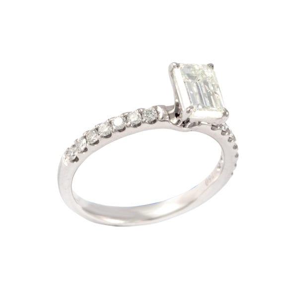 White Gold Emerald Cut Diamond Ring