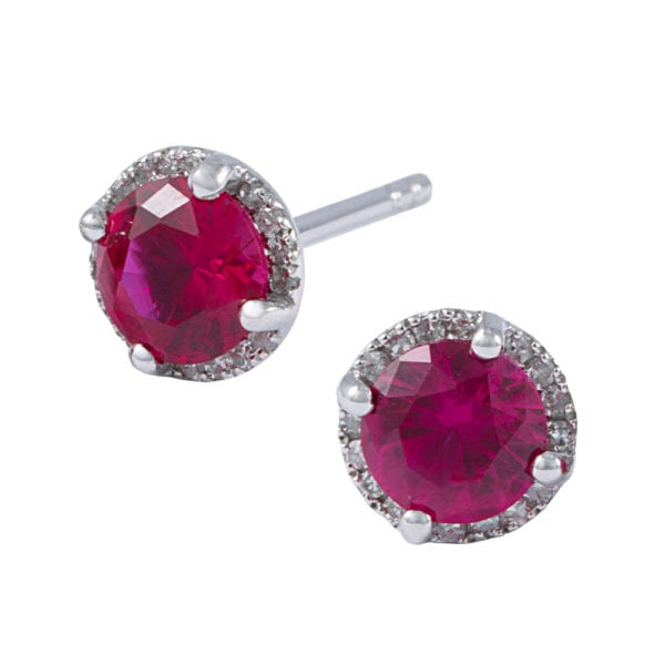 Diamond Halo Ruby Earrings