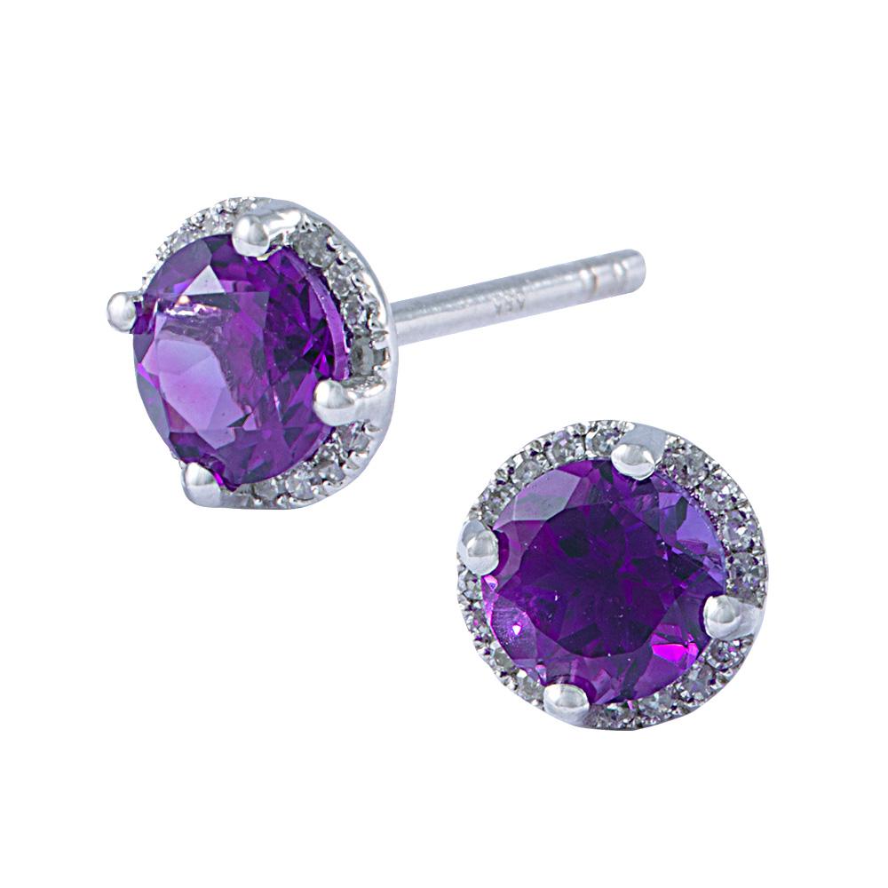Diamond Amethyst Earrings
