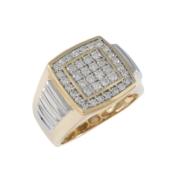 Two-tone gold and diamond ring