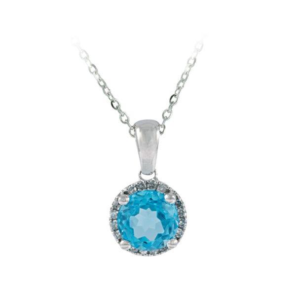 Diamond and Swiss Blue Topaz Pendant