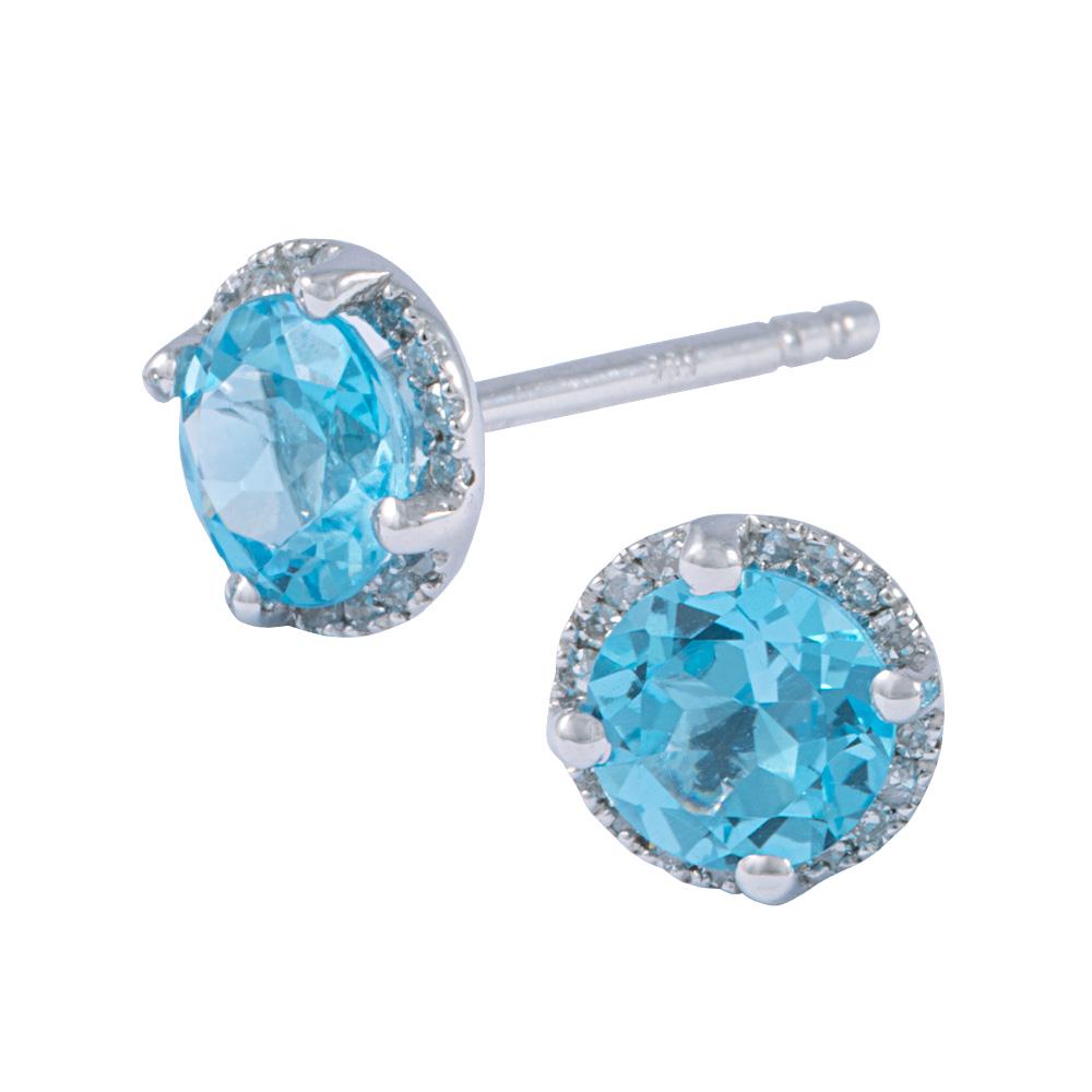 Diamond and Swiss Blue Topaz Earrings