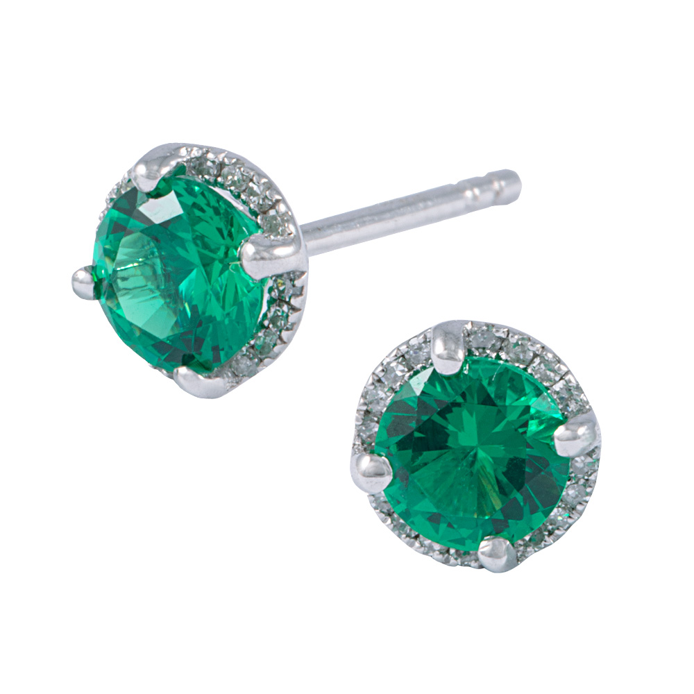 14 k White gold diamond halo earrings with created emerald centres