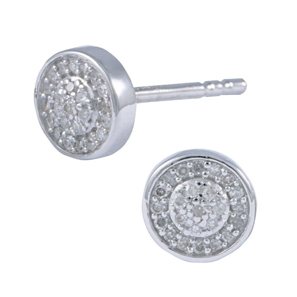 Round Diamond Pave Stud Earrings