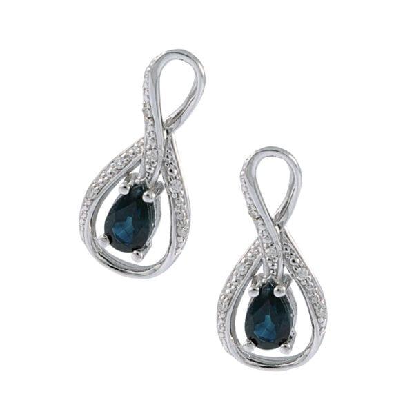 Infinity Diamond and Sapphire Earrings