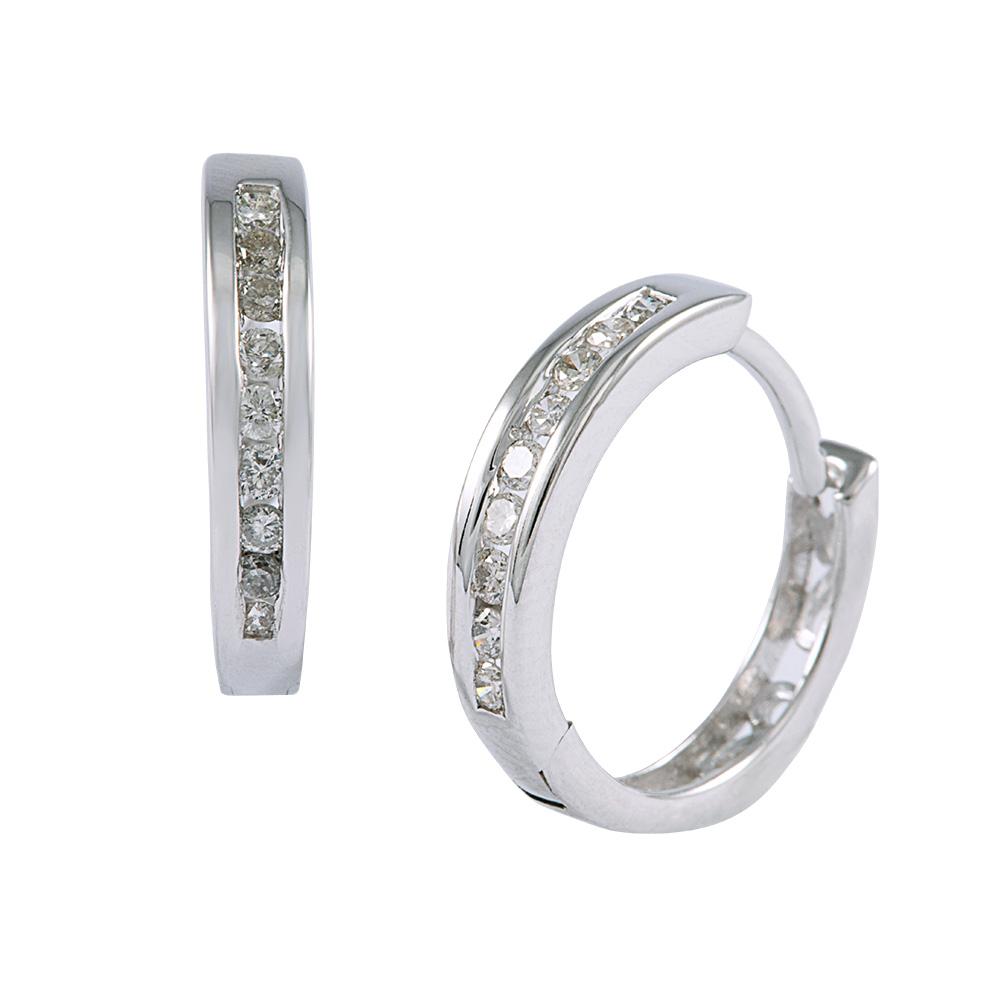 Gold Diamond Channel Set Earrings
