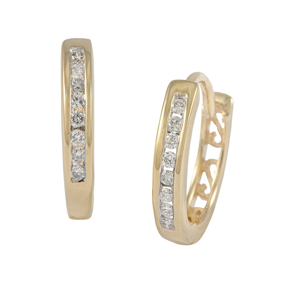 Channel Set Diamond Huggy Earrings