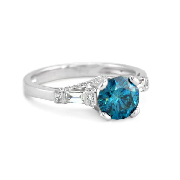 Treated Blue Diamond Ring