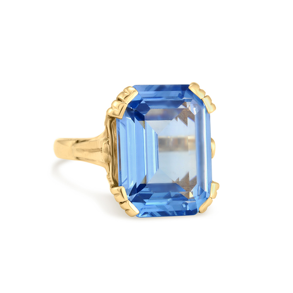 Gold Blue Stone Ring