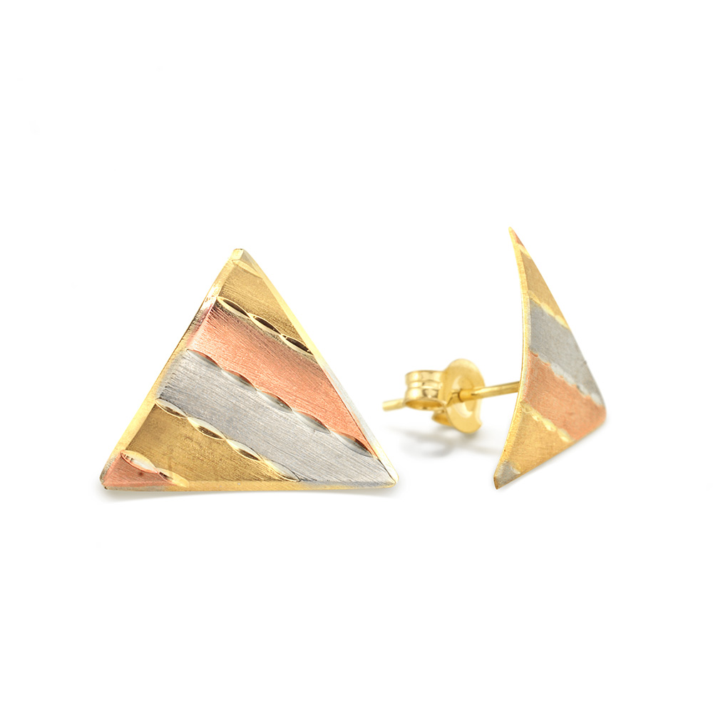 Tricolored Gold Earrings