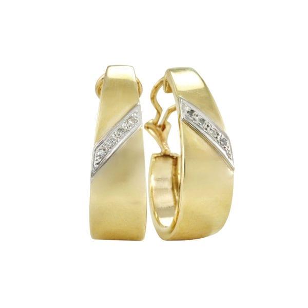 Gold and Diamond Hoop Earrings